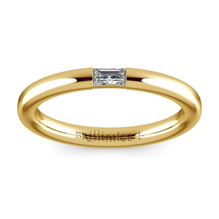 Domed Promise Ring with Baguette Diamond in Yellow Gold (2.5mm) | 02