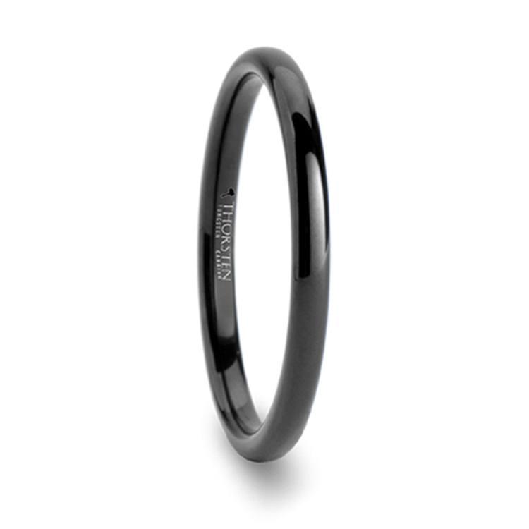 Domed Black Wedding Ring in Tungsten   02