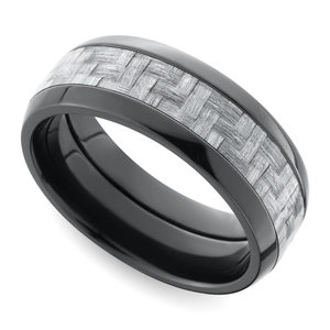 Domed Carbon Fiber Men's Wedding Ring in Zirconium