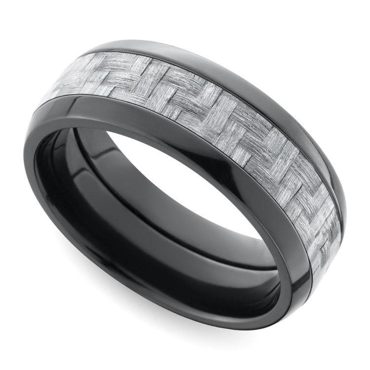 Domed Carbon Fiber Men's Wedding Ring in Zirconium | 01