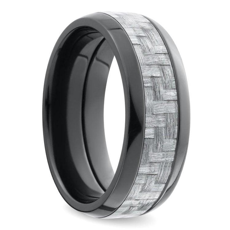 Domed Carbon Fiber Men's Wedding Ring in Zirconium | 02