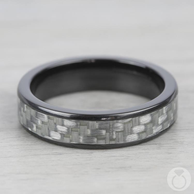 Domed Carbon Fiber Men's Wedding Ring in Zirconium | 03