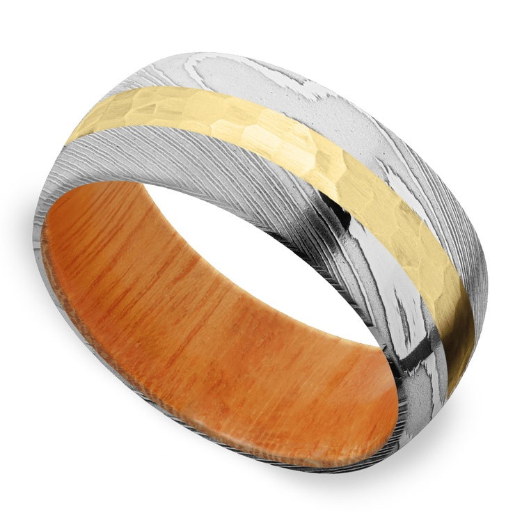 High Roller - Damascus & Yellow Gold Mens Band | 01
