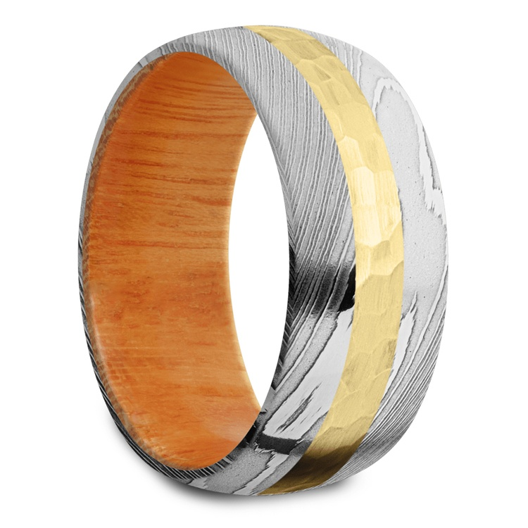 High Roller - Damascus & Yellow Gold Mens Band | 02