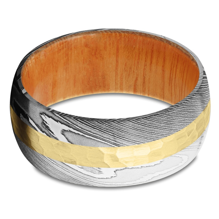 High Roller - Damascus & Yellow Gold Mens Band | 03