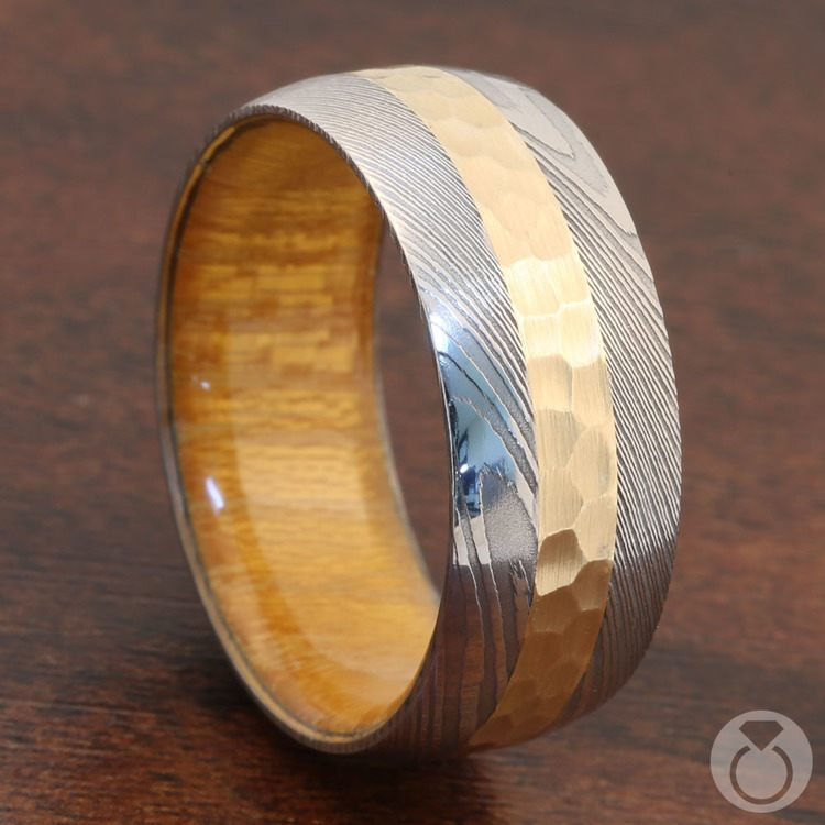 High Roller - Damascus & Yellow Gold Mens Band | 05