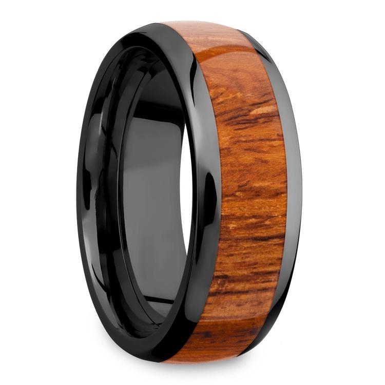 Wanderer - Zirconium & Wood Mens Wedding Band   02