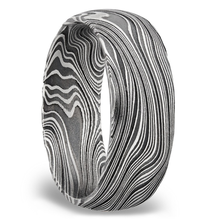 Domed Marble Men's Wedding Ring in Damascus Steel | 02