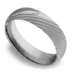 Domed Men's Wedding Ring in Damascus Steel (6mm) | Thumbnail 01