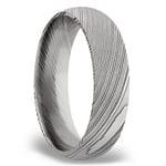Domed Men's Wedding Ring in Damascus Steel (6mm) | Thumbnail 02