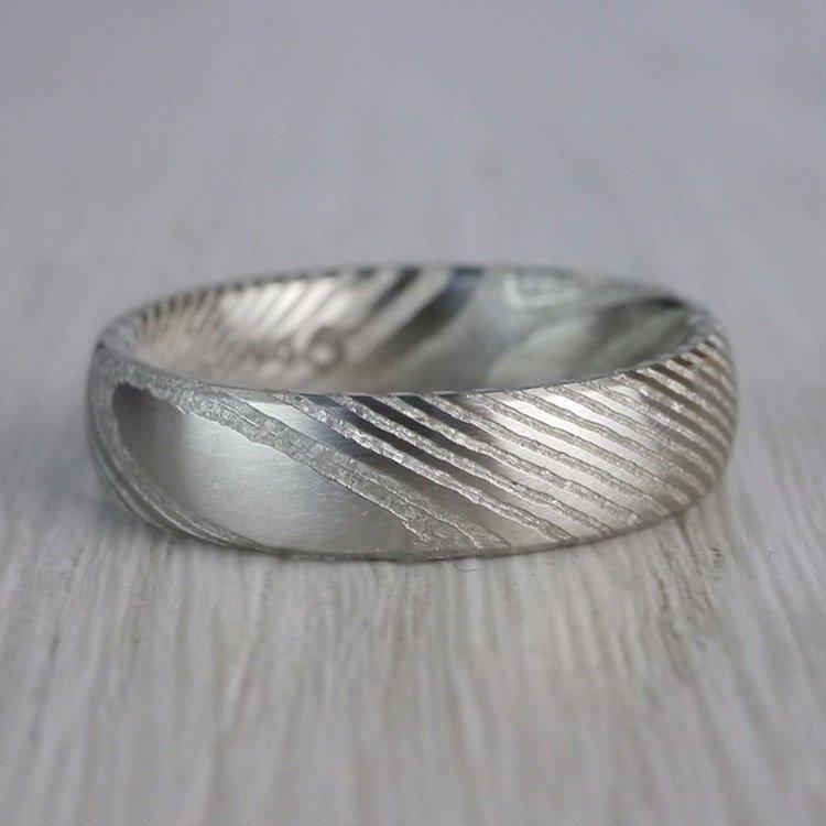 Domed Men's Wedding Ring in Damascus Steel (6mm) | 04