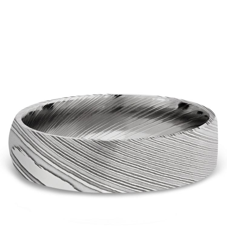 Domed Men's Wedding Ring in Damascus Steel (6mm) | 03