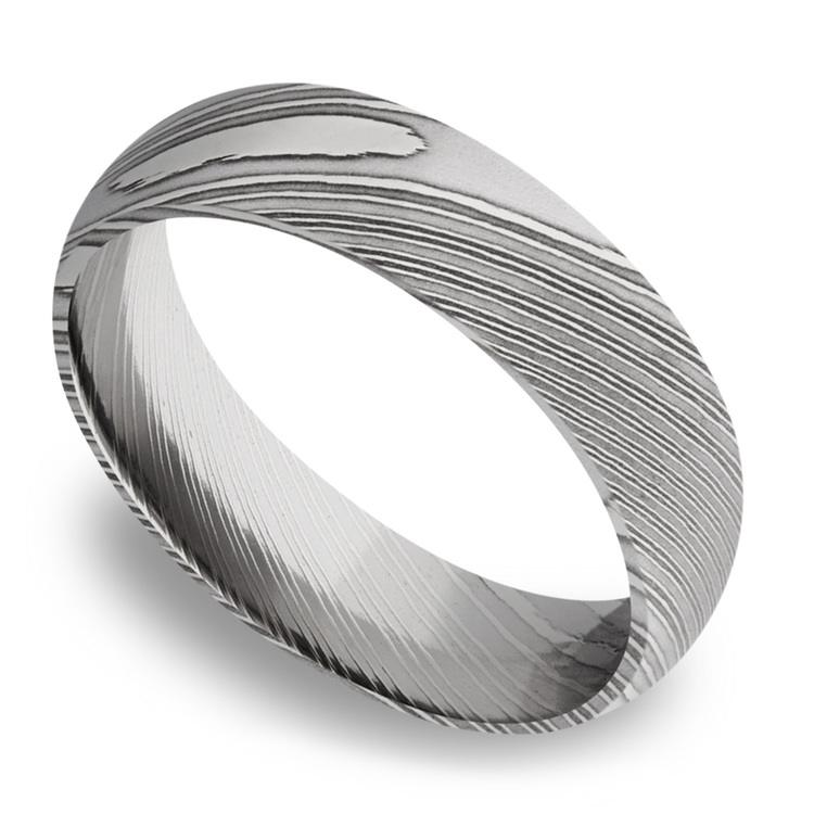 Domed Men's Wedding Ring in Damascus Steel (6mm) | 01