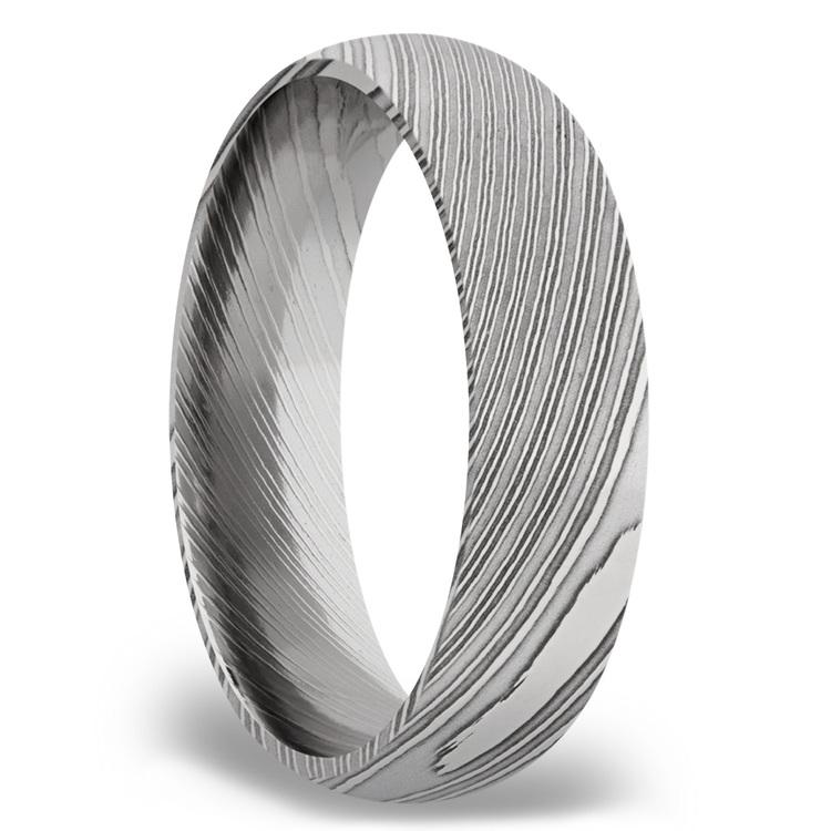 Domed Men's Wedding Ring in Damascus Steel (6mm) | 02