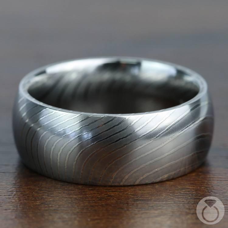 Domed Men's Wedding Ring in Damascus Steel | 04