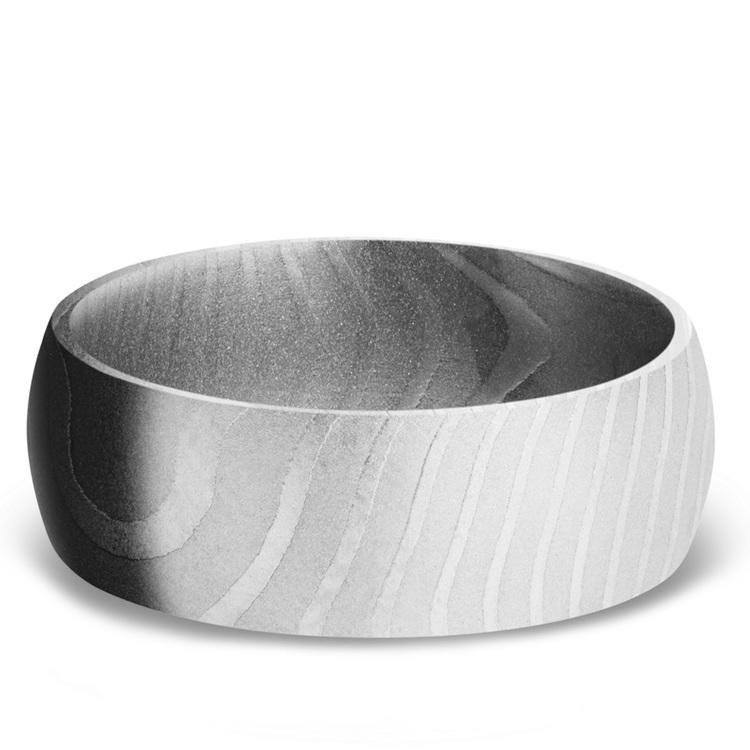 Domed Men's Wedding Ring in Damascus Steel | 03