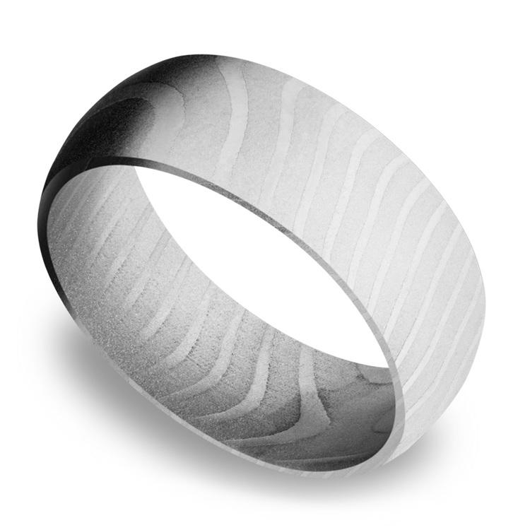 Domed Men's Wedding Ring in Damascus Steel | 01