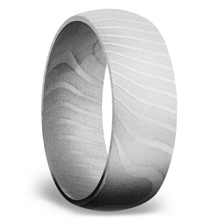 Domed Men's Wedding Ring in Damascus Steel | 02
