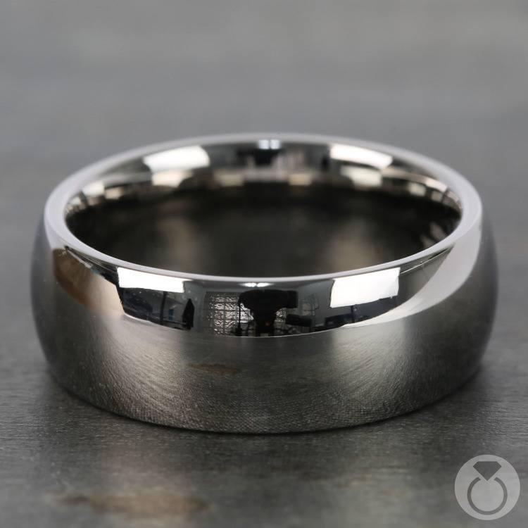 Domed Men's Wedding Ring in Titanium (8mm)   04