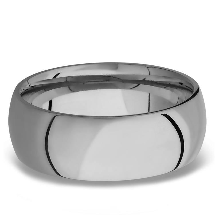 Domed Men's Wedding Ring in Titanium (8mm)   03