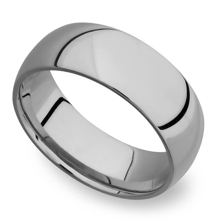 Domed Men's Wedding Ring in Titanium (8mm)   01