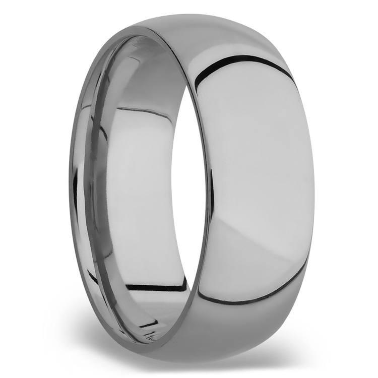Domed Men's Wedding Ring in Titanium (8mm)   02