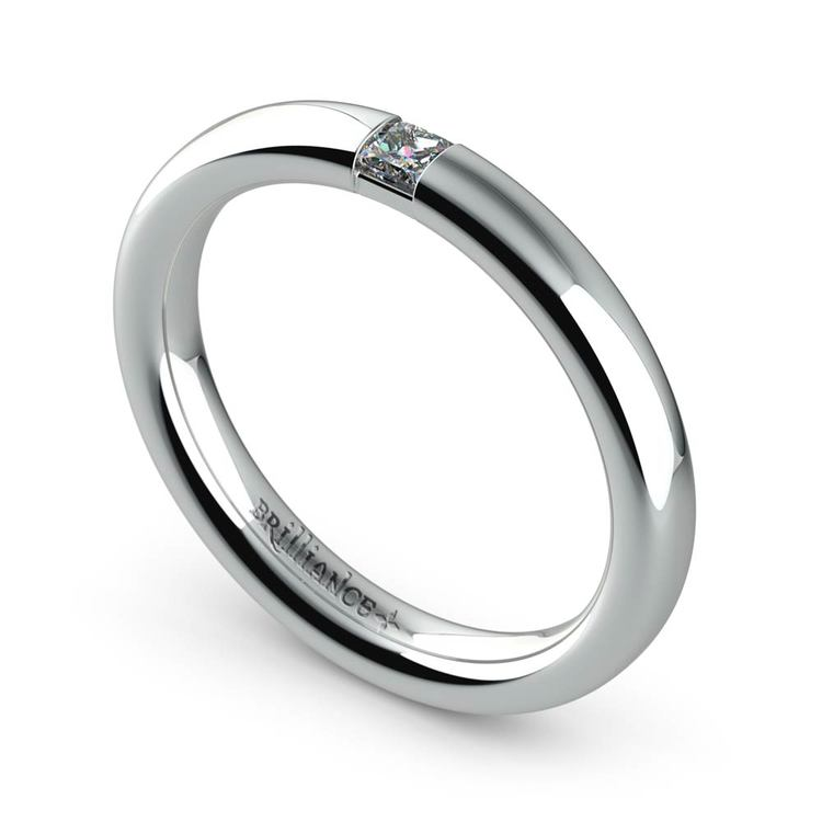 Domed Promise Ring with Princess Diamond in White Gold (2.9mm) | 01