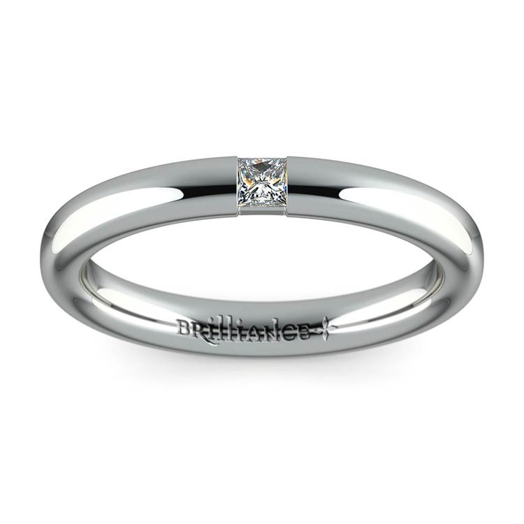 Domed Promise Ring with Princess Diamond in White Gold (2.9mm) | 02