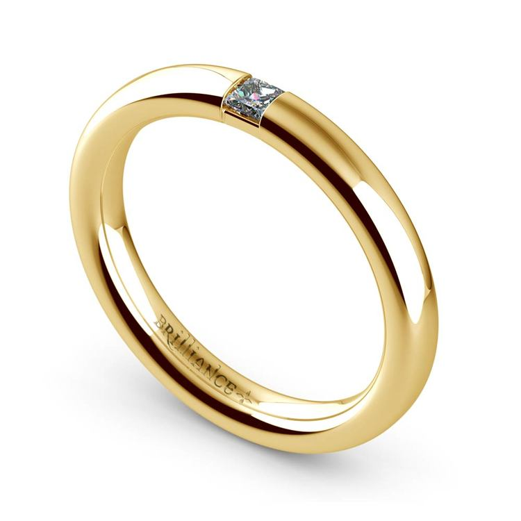 Domed Promise Ring with Princess Diamond in Yellow Gold (2.9mm) | 01