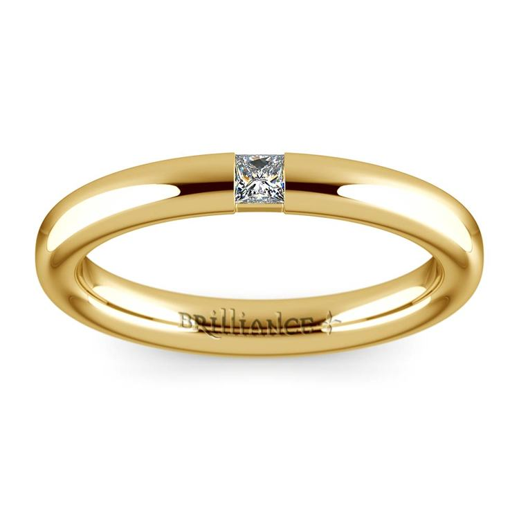 Domed Promise Ring with Princess Diamond in Yellow Gold (2.9mm) | 02
