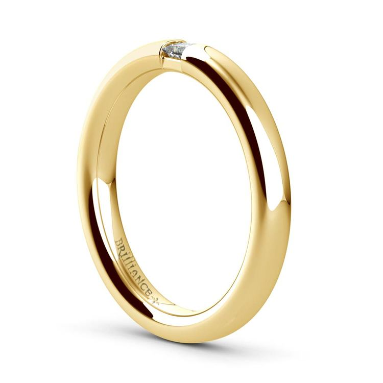 Domed Promise Ring with Princess Diamond in Yellow Gold (2.9mm) | 04