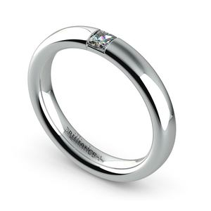 Domed Promise Ring with Princess Diamond in White Gold (3.4mm)
