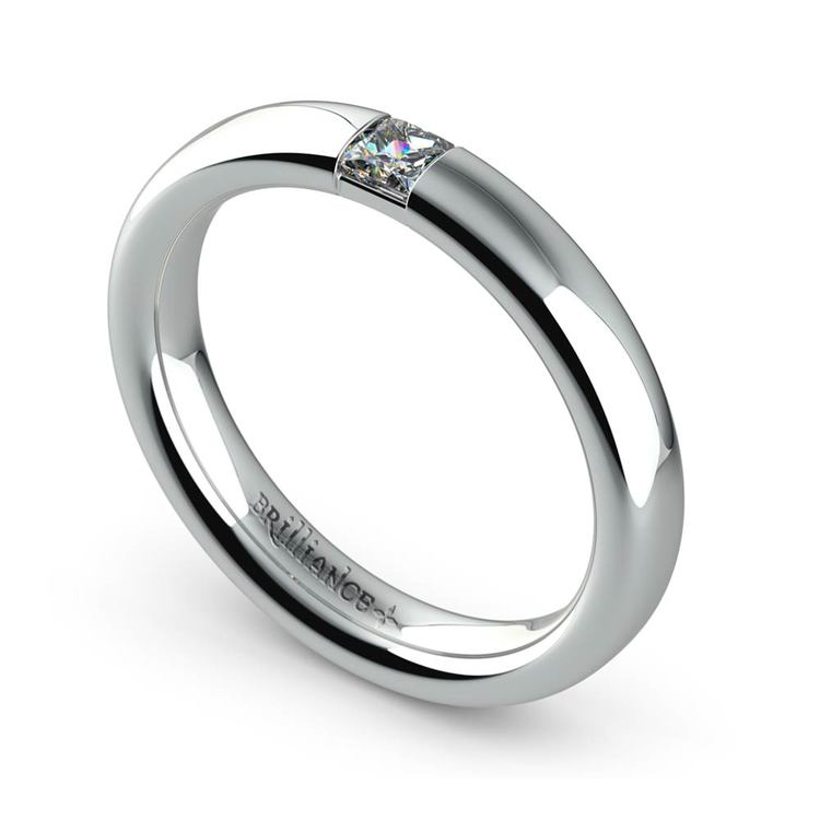 Domed Promise Ring with Princess Diamond in White Gold (3.4mm) | 01