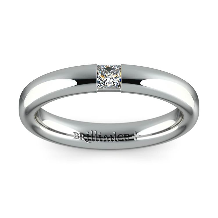 Domed Promise Ring with Princess Diamond in White Gold (3.4mm) | 02