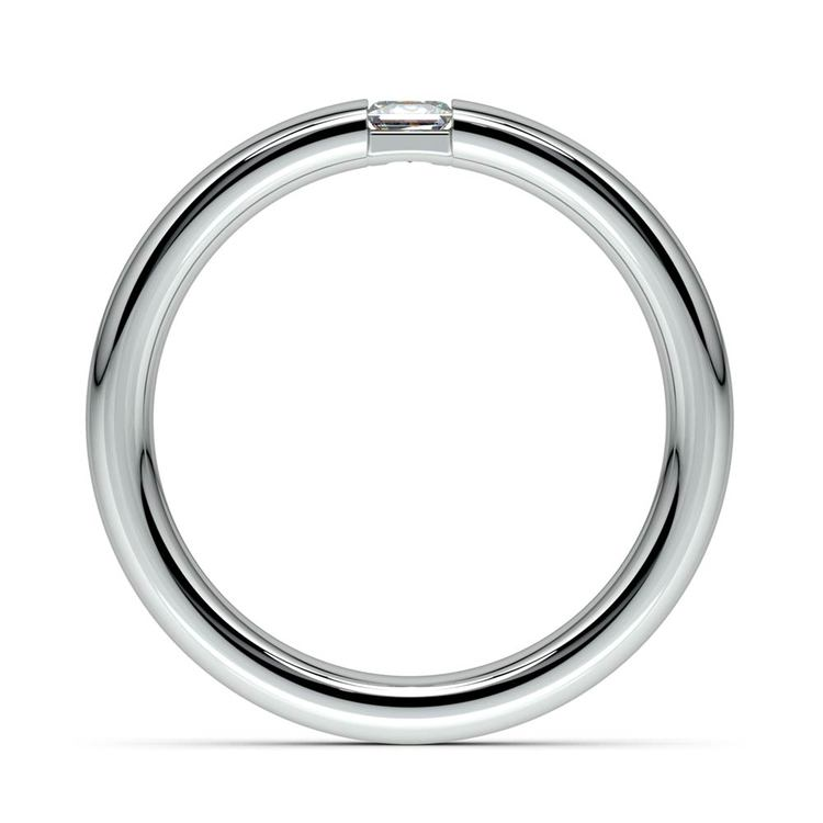 Domed Promise Ring with Princess Diamond in White Gold (3.4mm) | 03