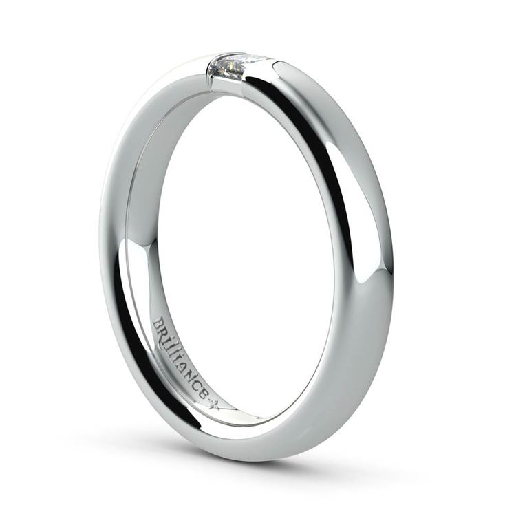 Domed Promise Ring with Princess Diamond in White Gold (3.4mm) | 04
