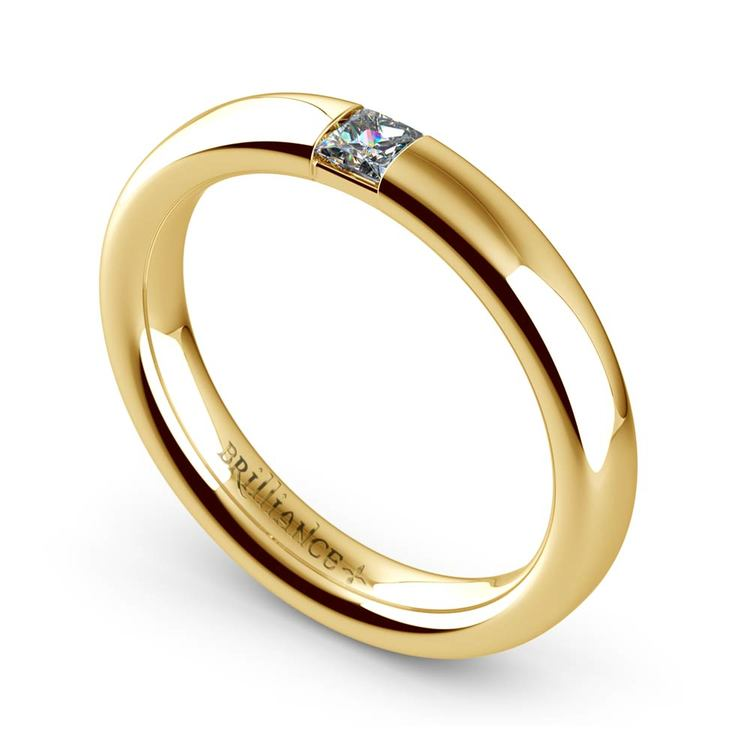 Domed Promise Ring with Princess Diamond in Yellow Gold (3.4mm) | 01