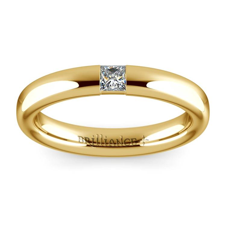 Domed Promise Ring with Princess Diamond in Yellow Gold (3.4mm) | 02