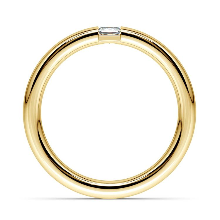 Domed Promise Ring with Princess Diamond in Yellow Gold (3.4mm) | 03