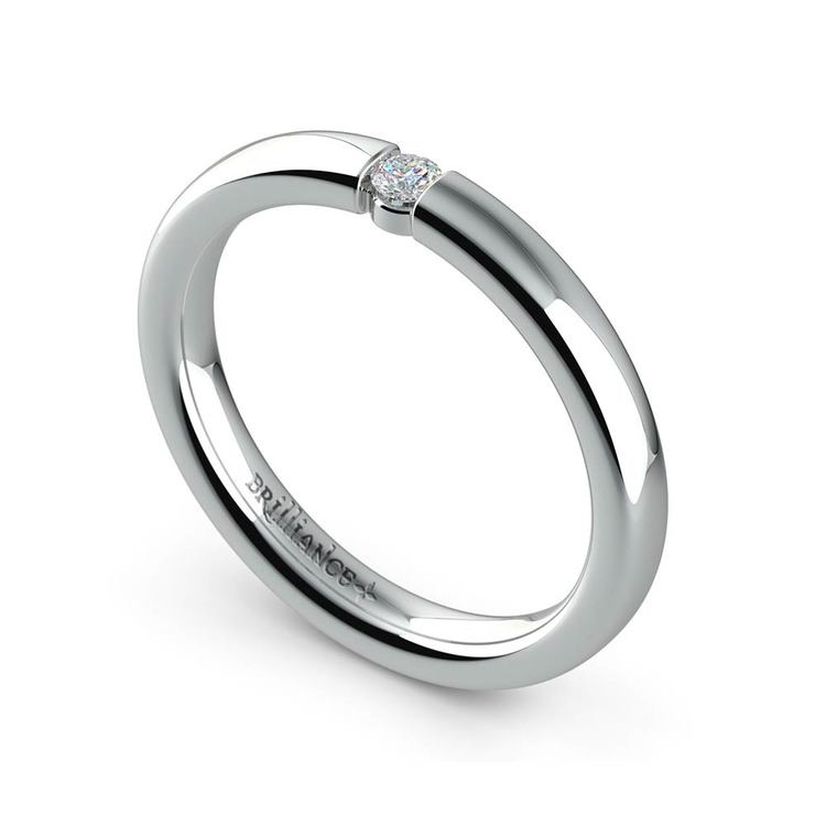 Domed Promise Ring with Round Diamond in White Gold (2.75mm) | 01