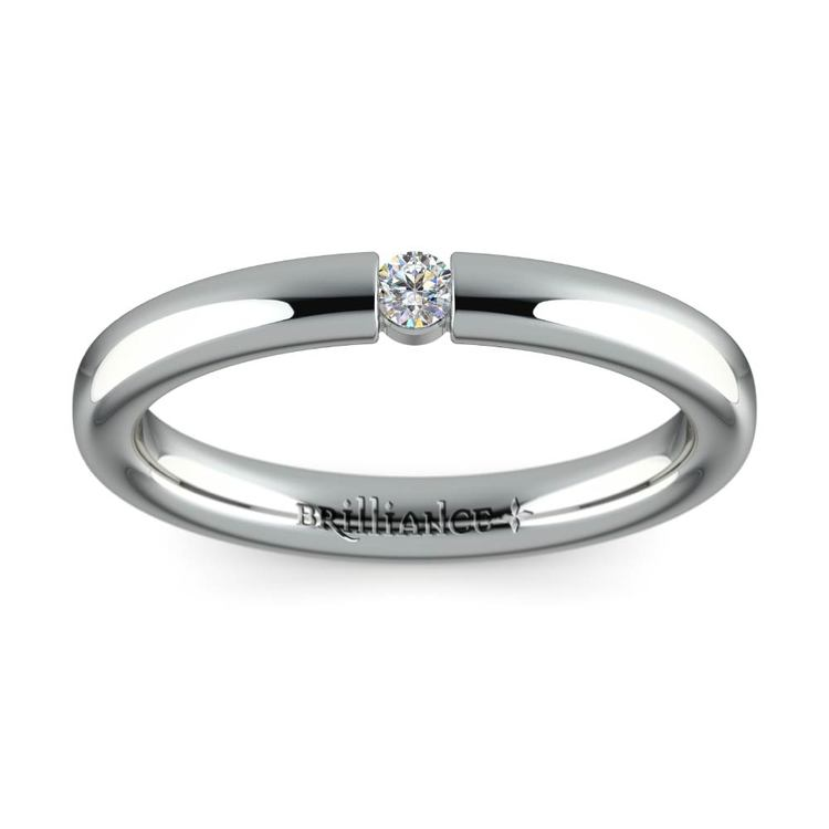 Domed Promise Ring with Round Diamond in White Gold (2.75mm) | 02