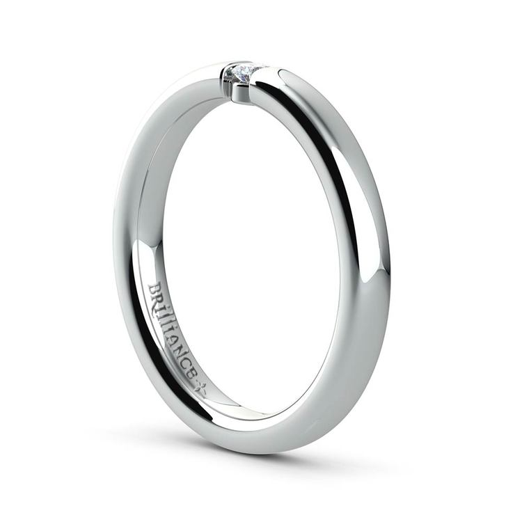 Domed Promise Ring with Round Diamond in White Gold (2.75mm) | 04