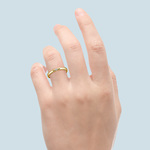 Domed Promise Ring with Round Diamond in Yellow Gold (2.75mm) | Thumbnail 06