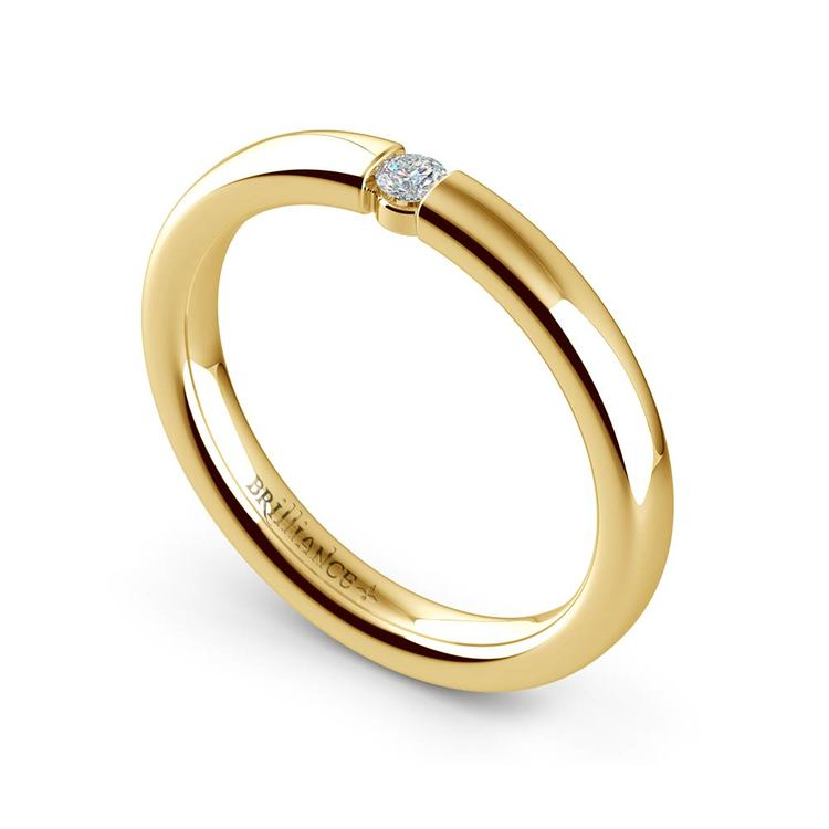 Domed Promise Ring with Round Diamond in Yellow Gold (2.75mm) | 01