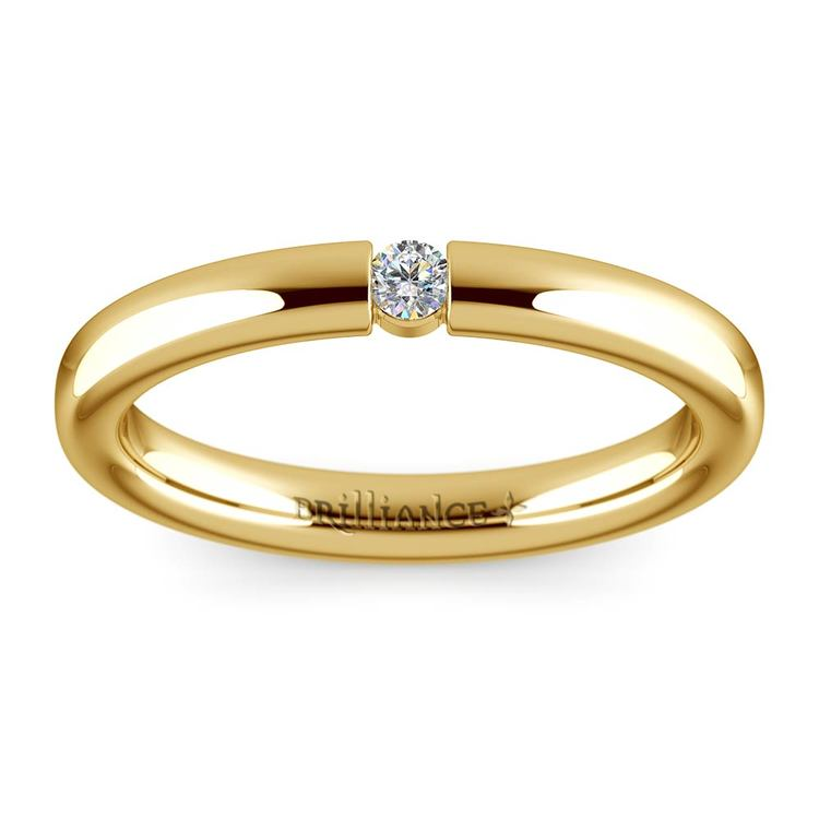 Domed Promise Ring with Round Diamond in Yellow Gold (2.75mm) | 02