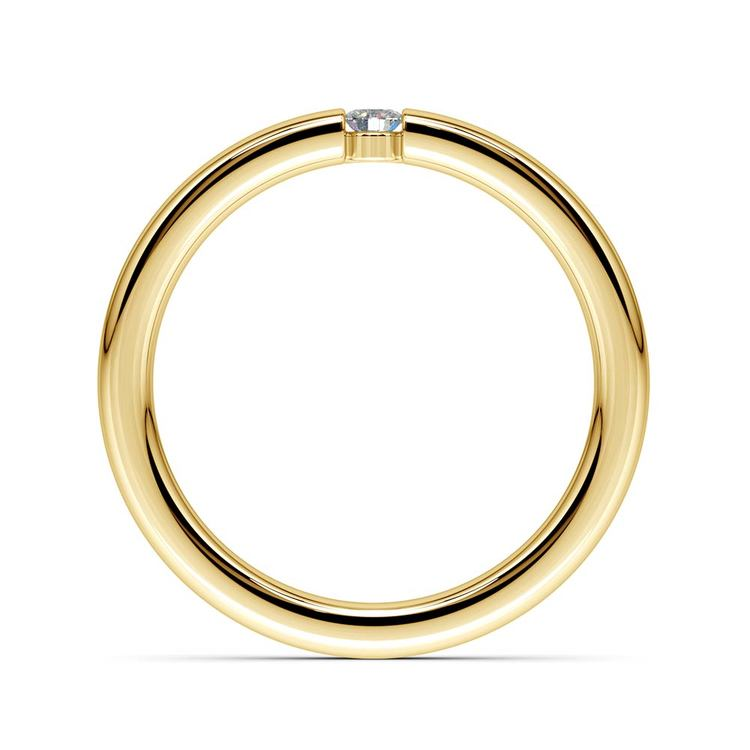 Domed Promise Ring with Round Diamond in Yellow Gold (2.75mm) | 03