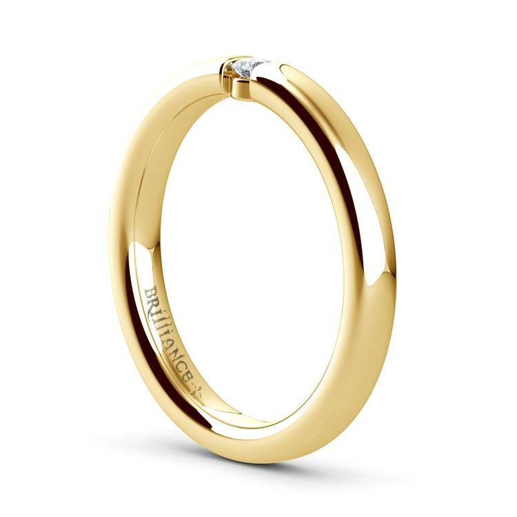 Domed Promise Ring with Round Diamond in Yellow Gold (2.75mm) | 04