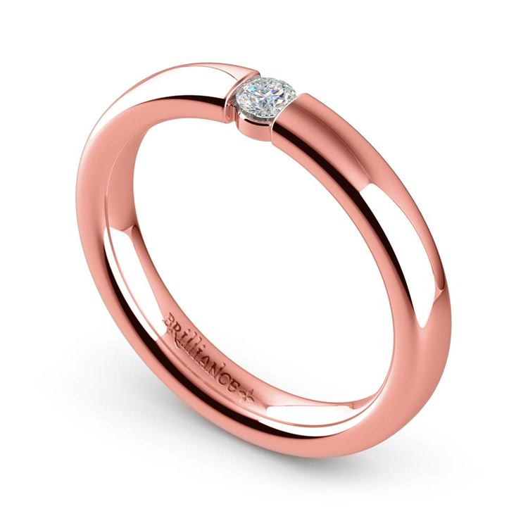 Domed Promise Ring with Round Diamond in Rose Gold (3.25mm) | 01