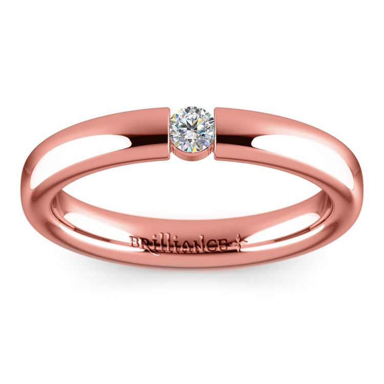 Domed Promise Ring with Round Diamond in Rose Gold (3.25mm) | 02