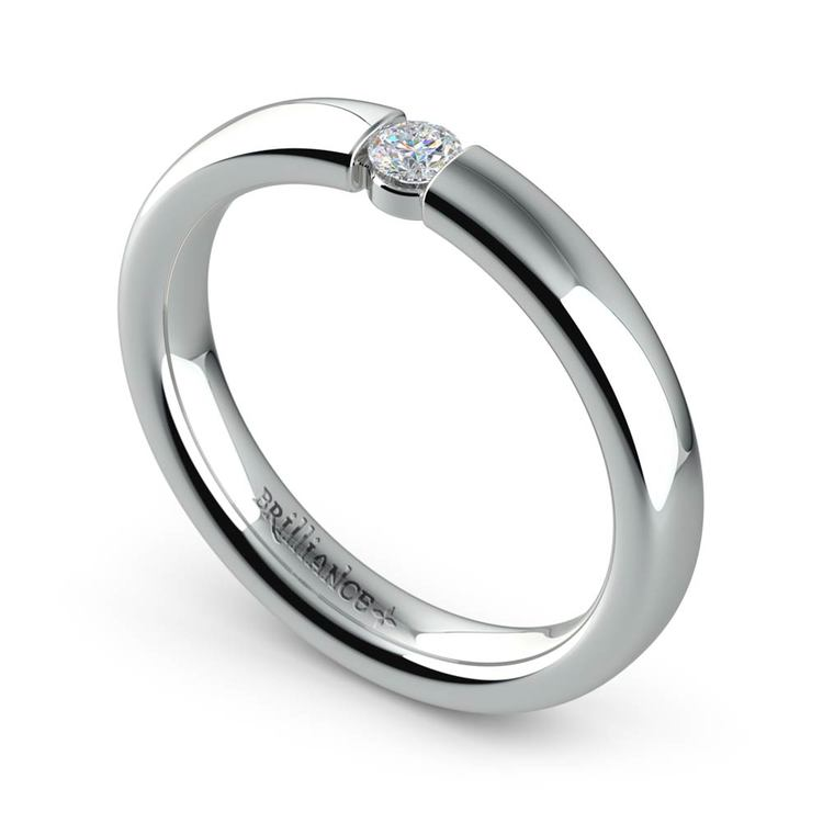 Domed Promise Ring with Round Diamond in White Gold (3.25mm) | 01